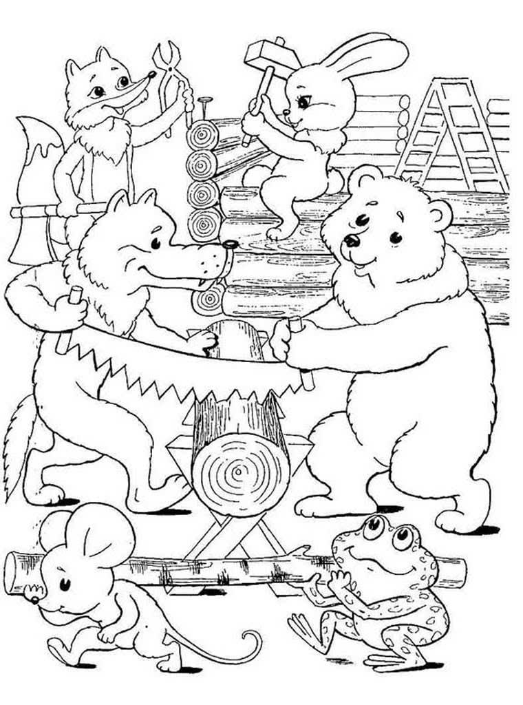 герои сказки теремок по отдельности картинки раскраски пломбир без выпечки