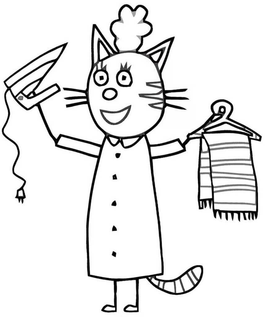 раскраски три кота раскраски из мультфильма про кошачью
