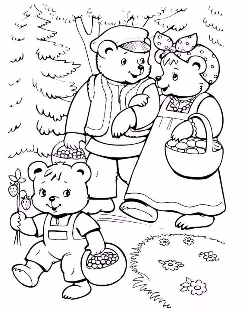 Раскраски Три медведя