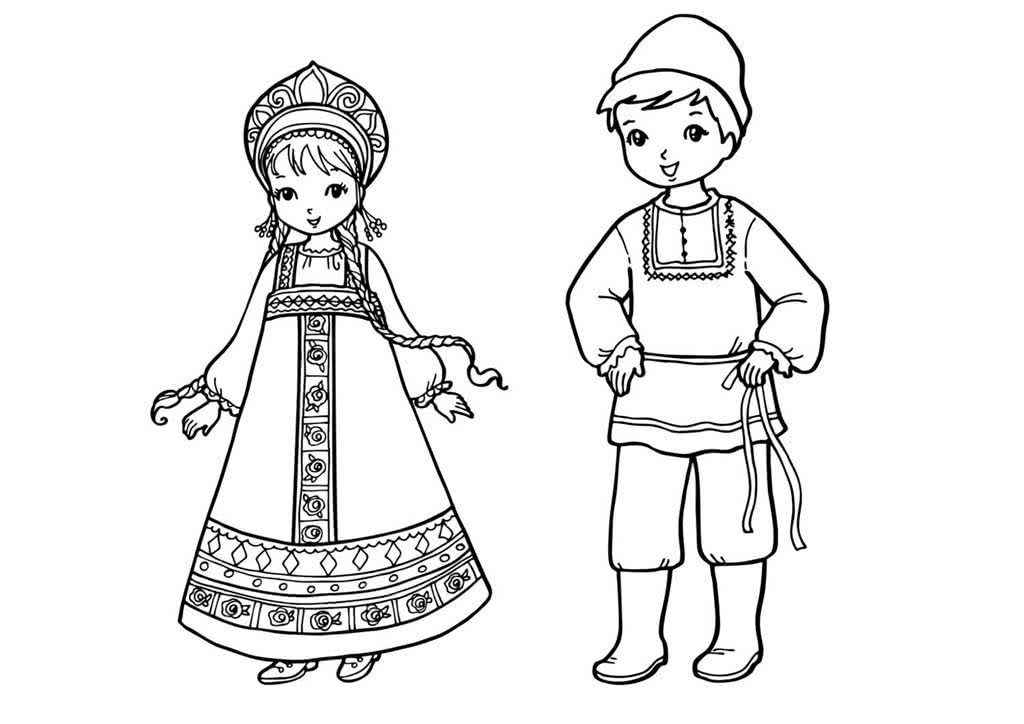 Раскраски костюм народов россии