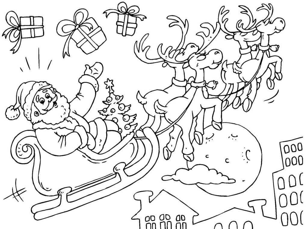Дед мороз на санях картинки карандашом