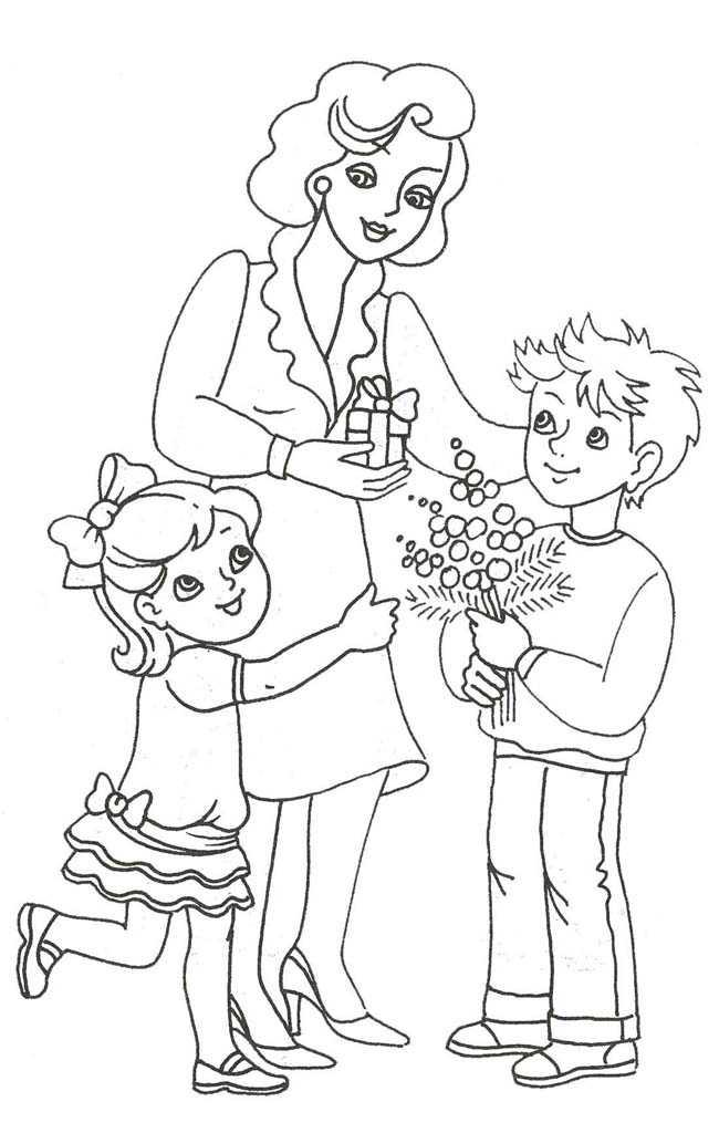 Раскраски День Мамы