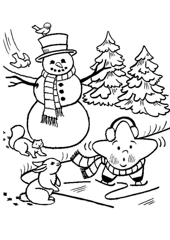 Раскраски Снеговики