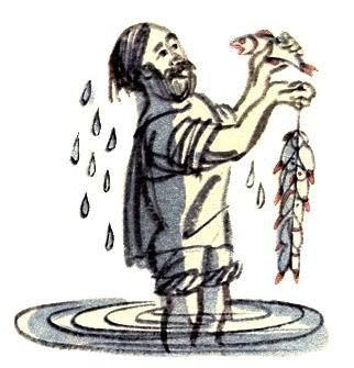 Рыбак и рыбка - Толстой Л.Н. Басня про рыбака, поймавшего ...