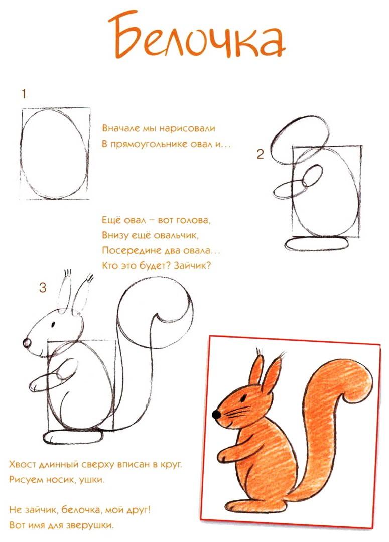 Простые рисунки животных.